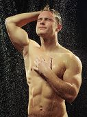 picture of gay symbol  - Handsome in a shower - JPG