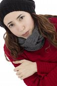 picture of freezing  - Woman freezing because of fever and flu - JPG