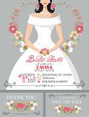 stock photo of bridal shower  - Bridal shower invitation set - JPG