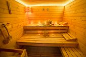 image of sauna  - Interior of wooden sauna with sauna accessories - JPG