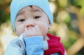 picture of snot  - Asian boy was sick and runny nose close up - JPG