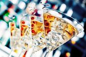 foto of shot glasses  - Several glasses of famous cocktail Martini shot at a bar with shallow depth of field - JPG