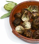 image of artichoke hearts  - roasted and fresh artichokes isolated on a white - JPG