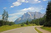 picture of bavarian alps  - alpine road with view to zugspitze mountain german alps - JPG