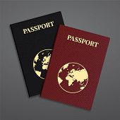 stock photo of passport template  - Vector international red and black passports with globe - JPG