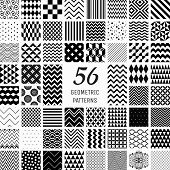 stock photo of pattern  - Set of 56 Vector Black Geometric Seamless Patterns with Transparent Background - JPG