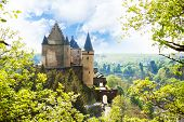 picture of castle  - View of Vianden castle in Luxembourg from the hill at spring - JPG