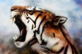 pic of airbrush  - A beautiful airbrush painting of a mighty roaring tiger emerging from an abstract cosmical background with starlights - JPG