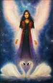 picture of canvas  - A beautiful oil painting on canvas of an angel woman with radiant wings above a pair of swans on a starlight space background - JPG