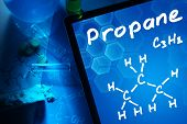 picture of formulas  - Tablet with the chemical formula of Propane - JPG