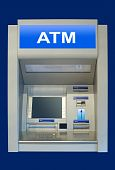 pic of automatic teller machine  - an automatic cash terminal isolated over deep blue - JPG