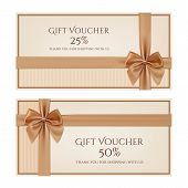 stock photo of golden  - Gift voucher template with golden ribbon and a bow - JPG