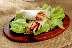 pic of sandwich wrap  - Chicken salad sandwich wrap with side salad - JPG