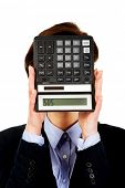 picture of sos  - Hopeless businesswoman with SOS writing on calculator - JPG