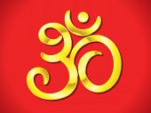 picture of om  - abstract artistic golden om text vector illustration - JPG
