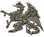 foto of freehand drawing  - freehand drawing mythical griffin - JPG