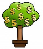 pic of prosperity sign  - Illustration of the green money tree with golden dollar shining sign on it - JPG