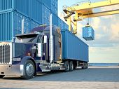 image of dock  - Stack of Freight Containers at the Docks with Truck - JPG