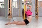 image of pole dance  - Beauty sporty girl in pole dance class - JPG