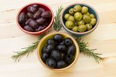 pic of kalamata olives  - A selection of three different types of olives - JPG