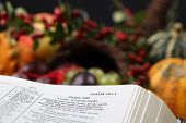 image of cornucopia  - Bible open to Psalm 100 with thanksgiving text and cornucopia in background - JPG