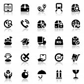 picture of logistics  - set of icons isolated for logistics in black with reflex - JPG