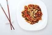 image of chinese parsley  - steamed vegetables and meat with peanut on plate - JPG