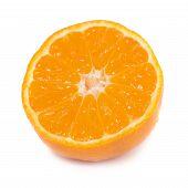 image of mandarin orange  - Half of orange mandarin isolated on white background - JPG