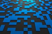 stock photo of fi  - Abstract 3d rendering of black and blue futuristic surface with squares - JPG