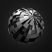 picture of fi  - Abstract 3d rendering of low poly black sphere with chaotic structure - JPG