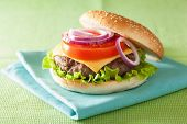 stock photo of burger  - burger with beef patty cheese lettuce onion tomato - JPG