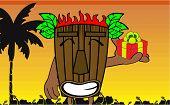 foto of tiki  - tiki hawaiian mask cartoon summer background in vector format very easy to edit - JPG