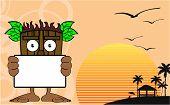 picture of tiki  - tiki hawaiian mask cartoon summer background in vector format very easy to edit - JPG