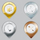 image of bronze silver gold platinum  - Metallic gps pointer set with various icons - JPG