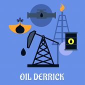 pic of derrick  - Oil Derrick and mining concept with a flat icons of mine head - JPG