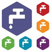 stock photo of ooze  - Colored set of hexagon icons with image of water tap - JPG