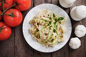 foto of oregano  - Italian zucchini pasta with oregano and parmesan cheese - JPG