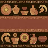 picture of sparta  - Ancient Greek ornament painted vases vector illustration - JPG