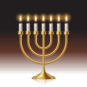 picture of hanukkah  - Hanukkah menorah with candles isolated on background - JPG