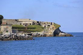 foto of saracen  - fortification on Tino island in Liguria Italy  - JPG