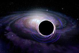 image of deep  - Black hole star in deep space illustration - JPG