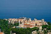 stock photo of oceanography  - Princely palace Cathedral and Oceanography museum in Monaco old town - JPG