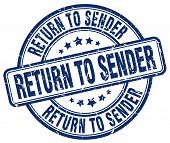 Постер, плакат: Return To Sender Blue Grunge Round Vintage Rubber Stamp return To Sender Stamp return To Sender Roun