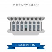 Постер, плакат: Unity Palace Yaounde Cameroon vector Africa attraction landmarks