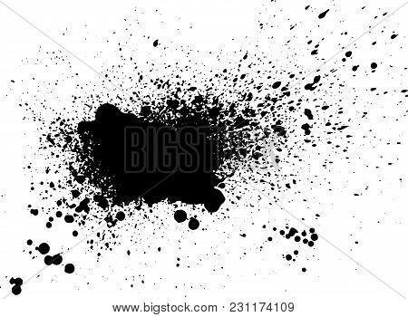 poster of Black Paint, Ink Splash, Brushes Ink Droplets, Blots. Black Ink Splatter Grunge  Background, Isolate
