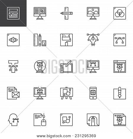 poster of Design And Creative Outline Icons Set. Linear Style Symbols Collection, Line Signs Pack. Vector Grap
