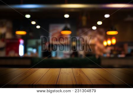 Empty Wooden Table Top With