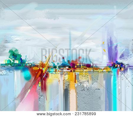 poster of Abstract Oil Painting Landscape. Oil Painting Outdoor On Canvas. Semi Abstract Tree, Field, Meadow.