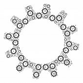 Cogwheel Pattern Organized In The Shape Of Cogwheel Design Elements. Vector Iconized Collage Organiz poster
