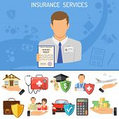 Постер, плакат: Insurance Services Concept Insurer Holding In Hand Policy For Car Medical Travel And Family Insur